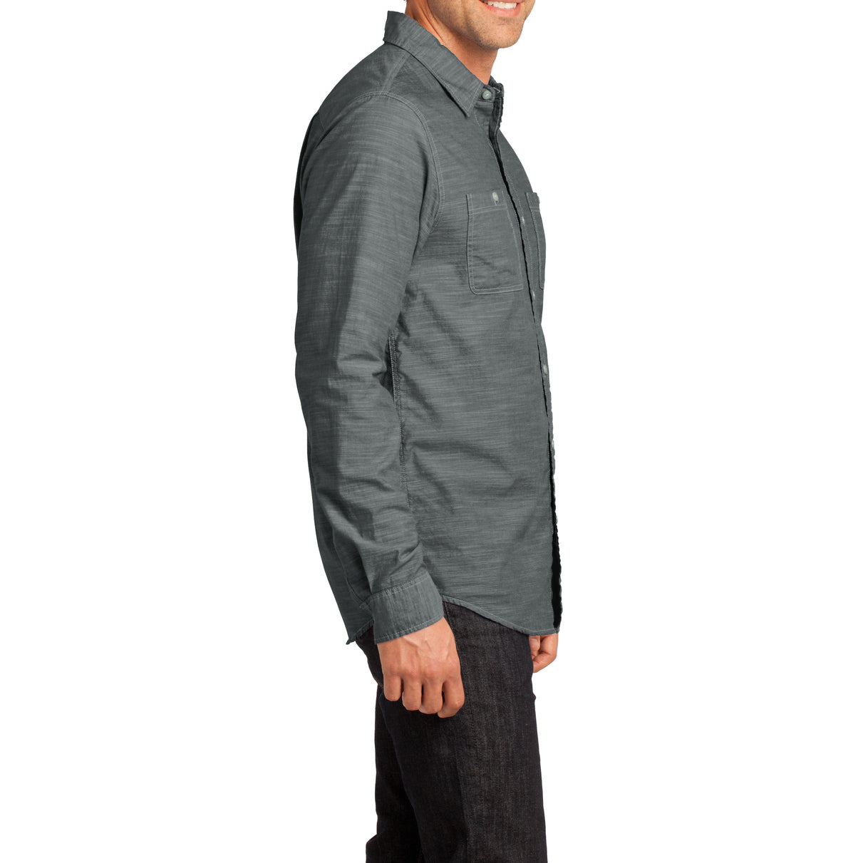 Mens Long Sleeve Washed Woven Shirt - Grey - Side
