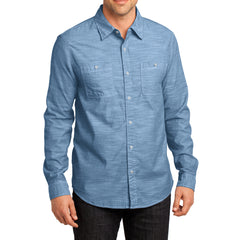 Mens Long Sleeve Washed Woven Shirt - Light Blue - Front