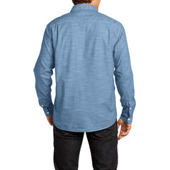 Mens Long Sleeve Washed Woven Shirt - Light Blue - Back