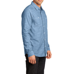 Mens Long Sleeve Washed Woven Shirt - Light Blue - Side