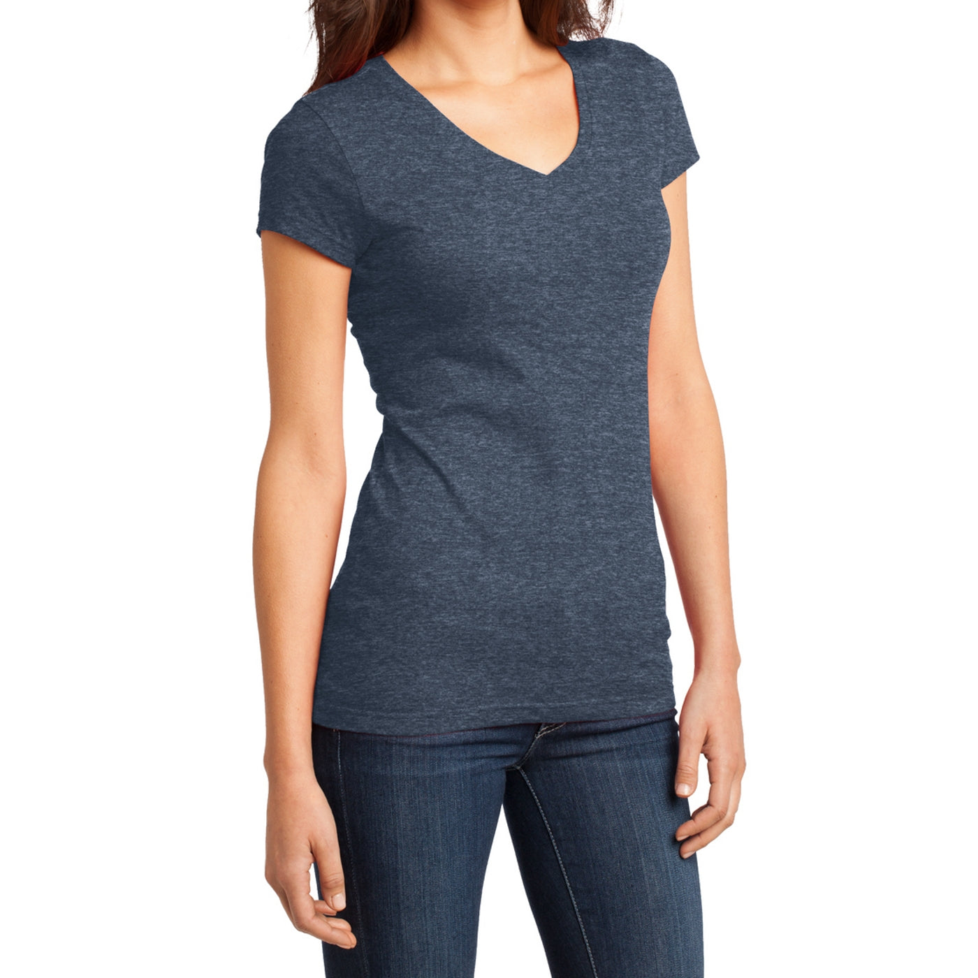 Women's Juniors Very Important Tee V-Neck - Heathered Navy
