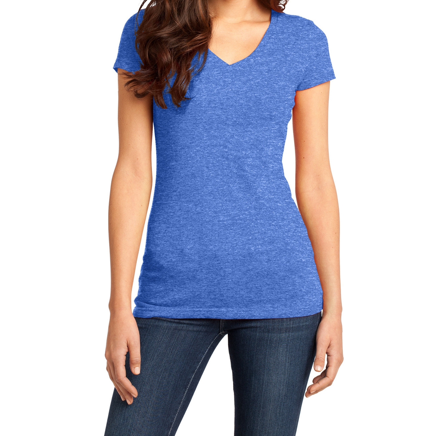 Women's Juniors Very Important Tee V-Neck - Heathered Royal