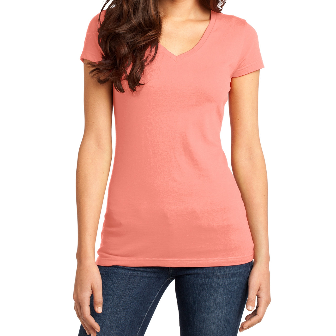 Women's Juniors Very Important Tee V-Neck - Peach