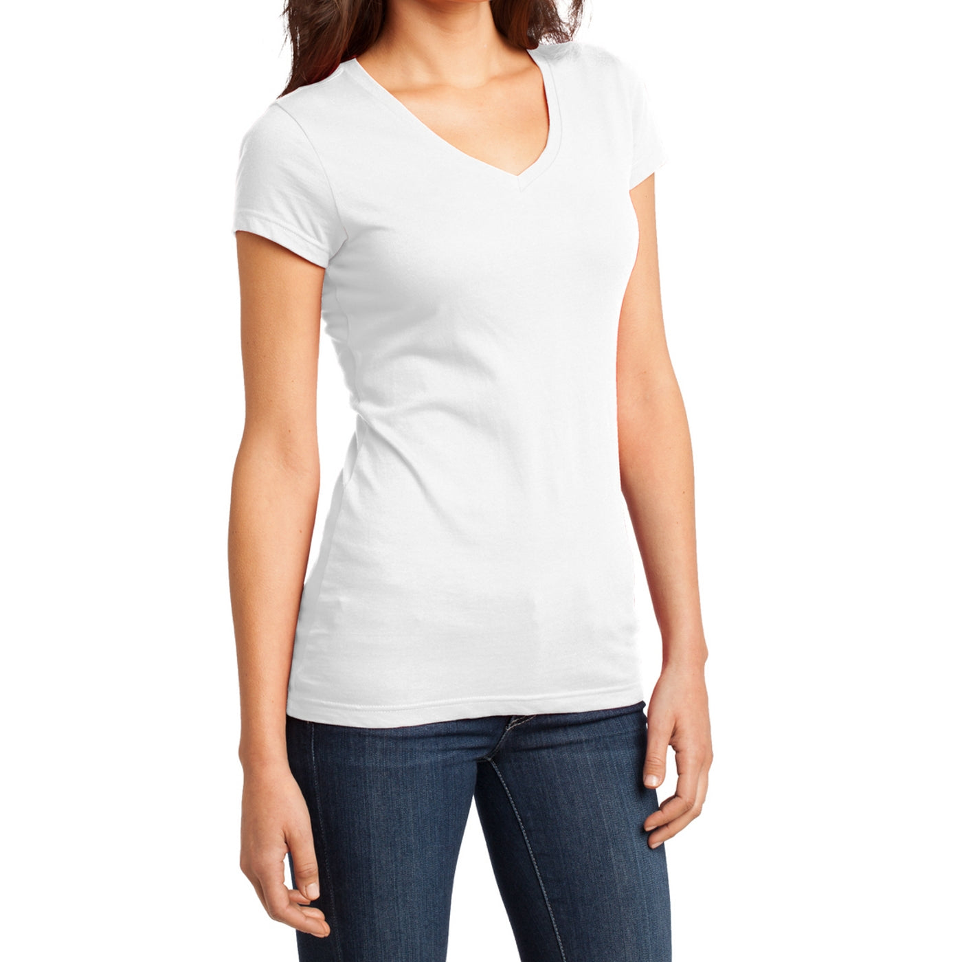 Women's Juniors Very Important Tee V-Neck - White