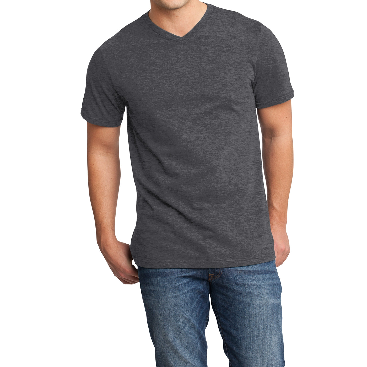 Men's Young  Very Important Tee V-Neck - Heathered Charcoal