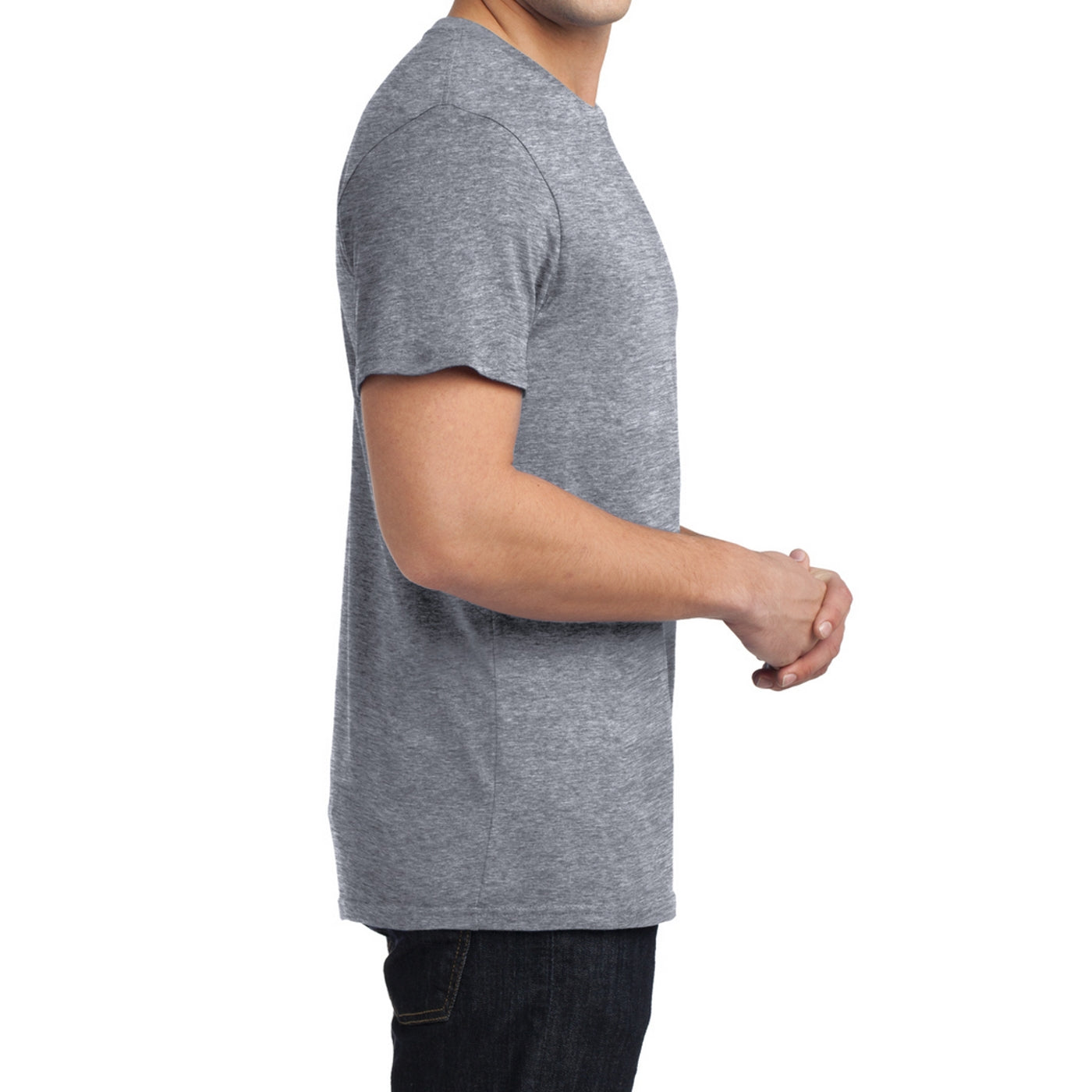 Men's Young  Soft Wash Crew Tee - Heather Grey