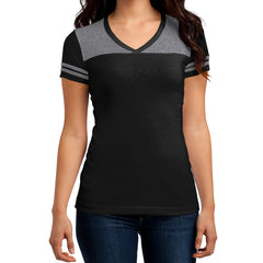 Women's Juniors Varsity V-Neck Tee - Black/ Heathered Nickel