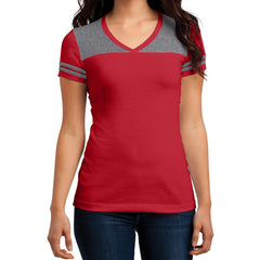 Women's Juniors Varsity V-Neck Tee - New Red/ Heathered Nickel