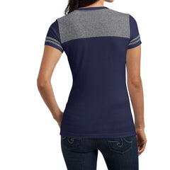 Women's Juniors Varsity V-Neck Tee - True Navy/ Heathered Nickel