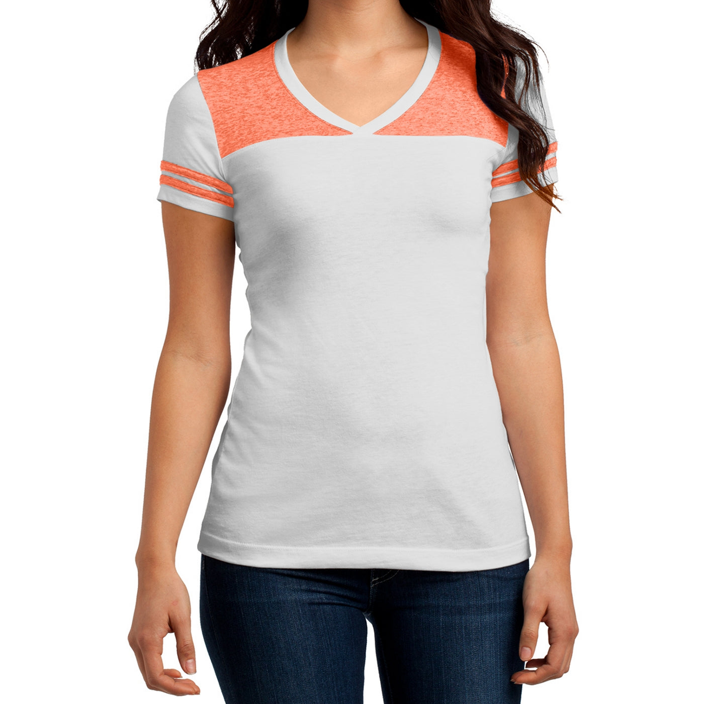 Women's Juniors Varsity V-Neck Tee - White/ Bright Orange