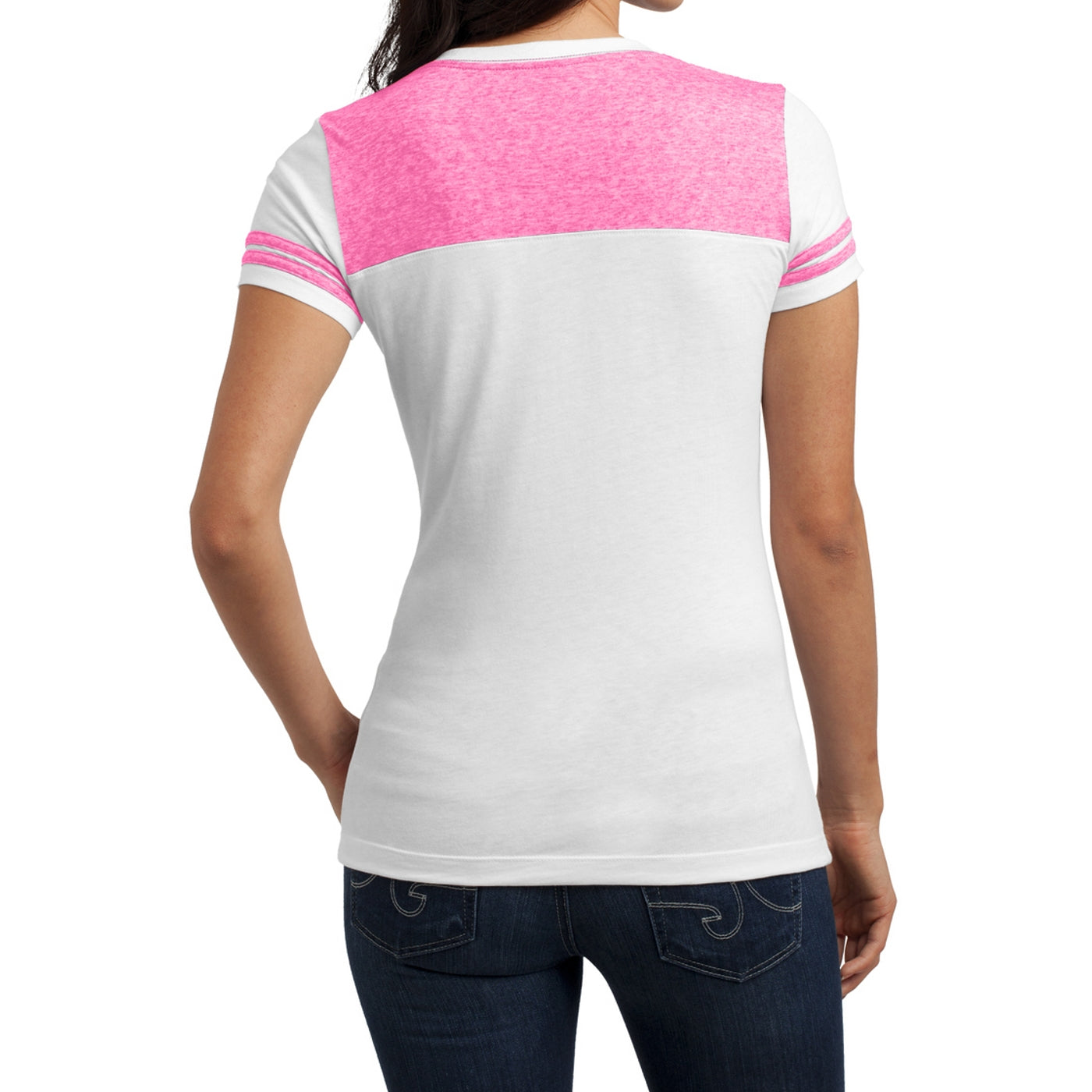 Women's Juniors Varsity V-Neck Tee - White/ Bright Pink