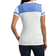Women's Juniors Varsity V-Neck Tee - White/ Deep Royal