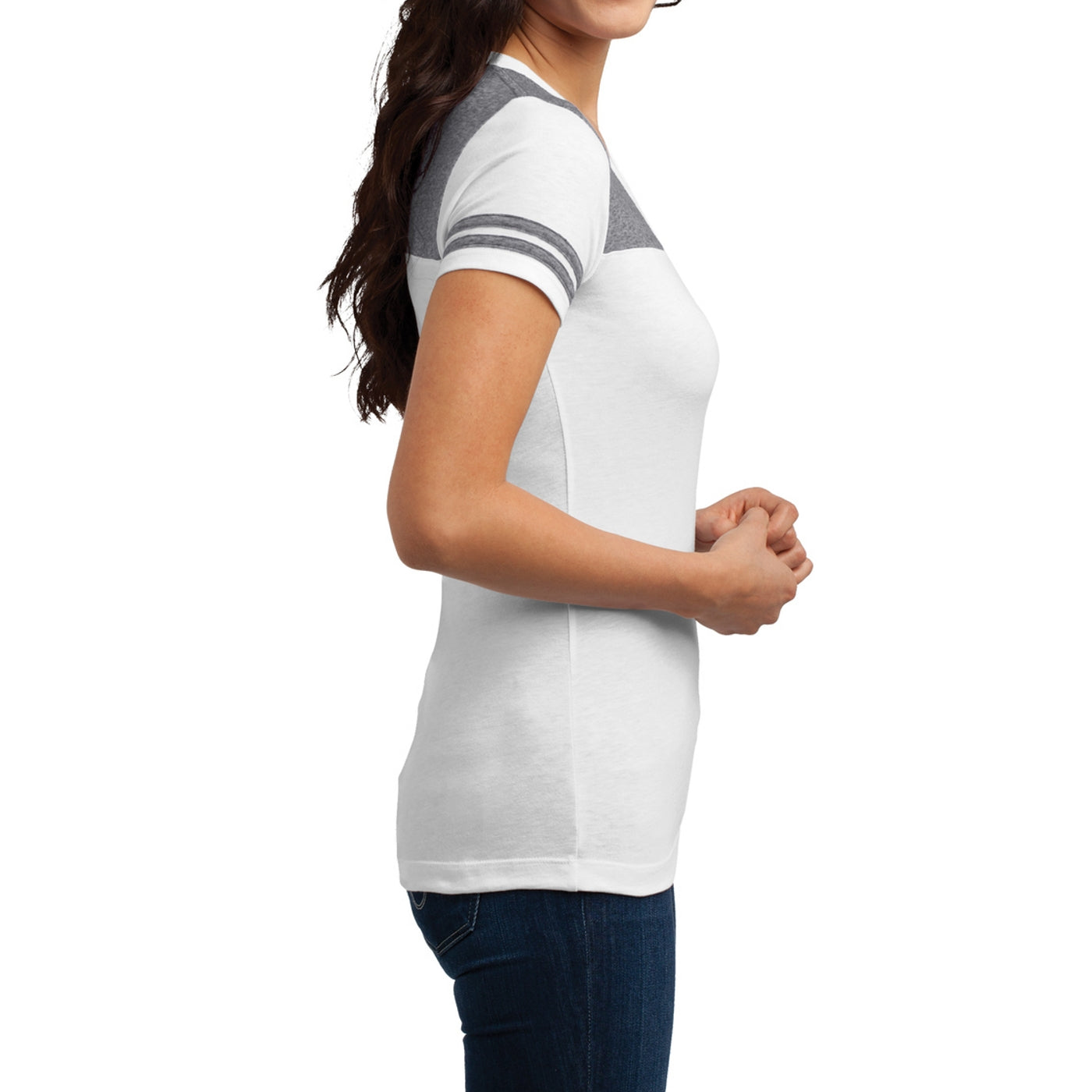 Women's Juniors Varsity V-Neck Tee - White/ Heathered Nickel