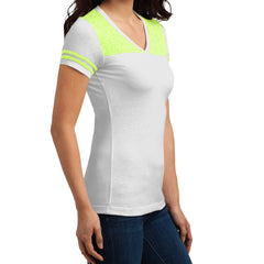 Women's Juniors Varsity V-Neck Tee - White/ Neon Lime