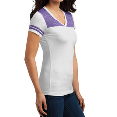 Women's Juniors Varsity V-Neck Tee - White/ Purple