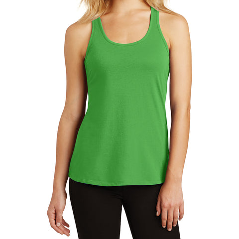 Womens Solid Gathered Racerback Tank - Apple Green - Front