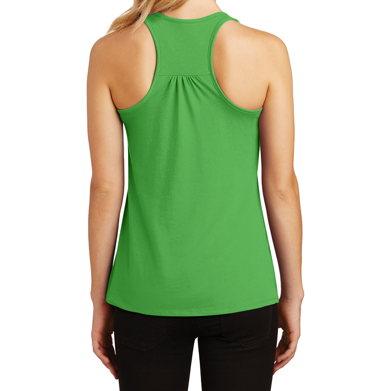 Womens Solid Gathered Racerback Tank - Apple Green - Back