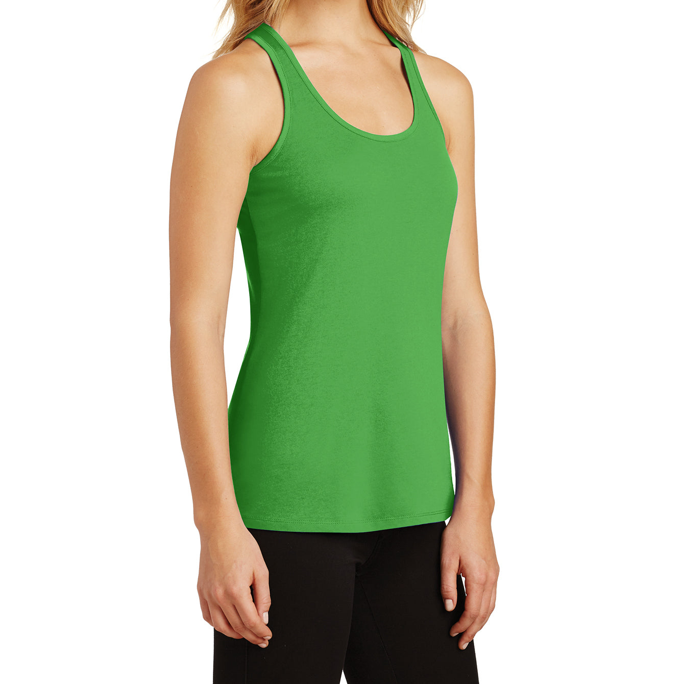 Womens Solid Gathered RacerSide Tank - Apple Green - Side