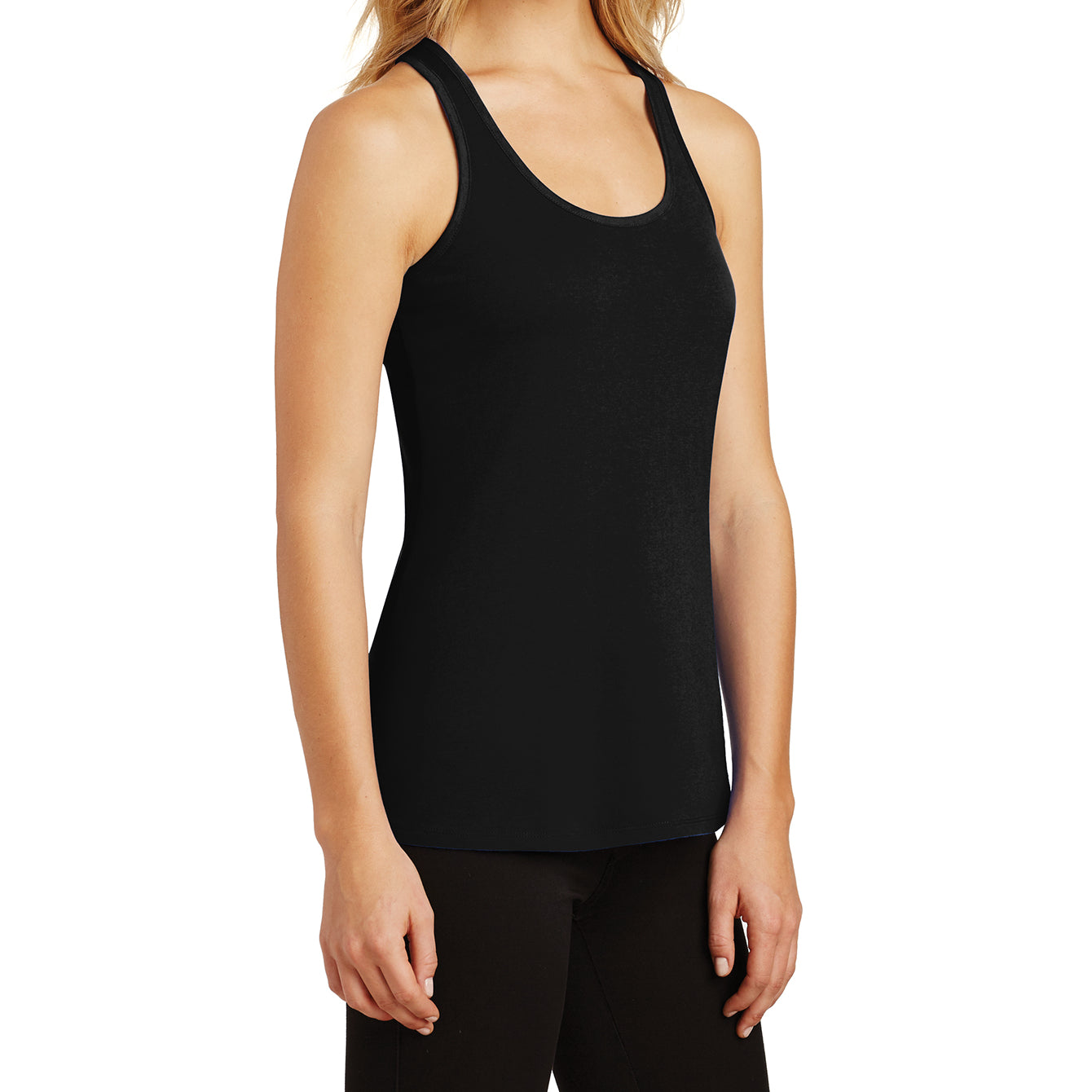 Womens Solid Gathered RacerSide Tank - Black - Side