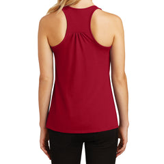 Womens Solid Gathered Racerback Tank - Classic Red - Back