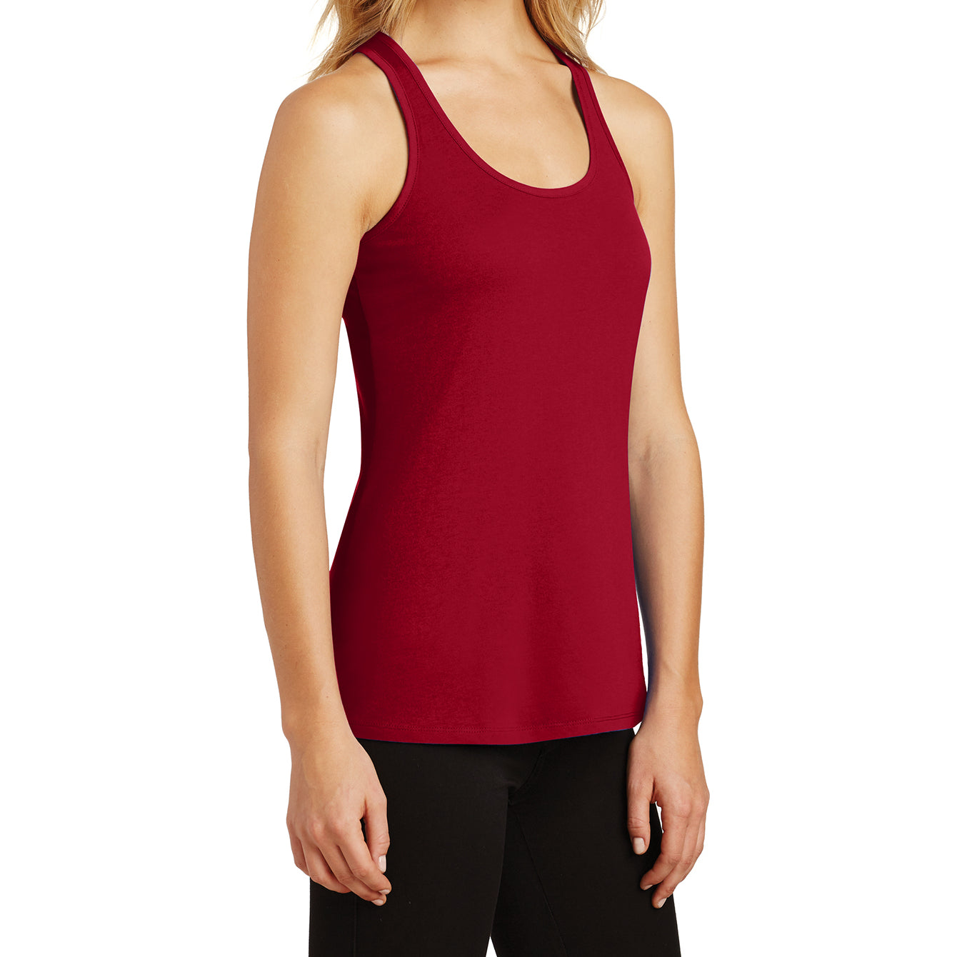 Womens Solid Gathered RacerSide Tank - Classic Red - Side