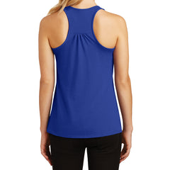 Womens Solid Gathered Racerback Tank - Deep Royal - Back