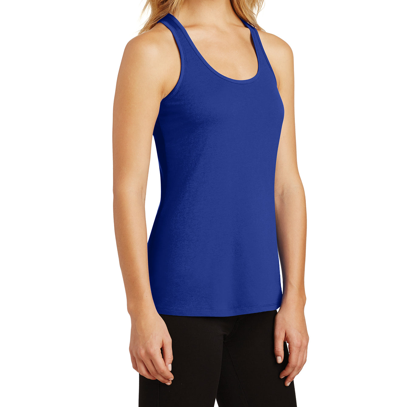 Womens Solid Gathered RacerSide Tank - Deep Royal - Side