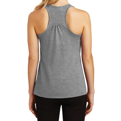 Womens Solid Gathered Racerback Tank - Heathered Nickel - Back