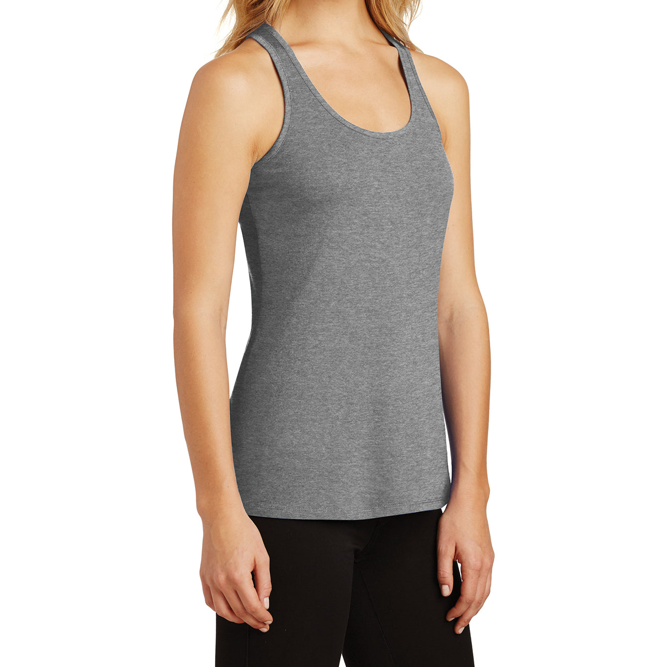 Womens Solid Gathered RacerSide Tank - Heathered Nickel - Side