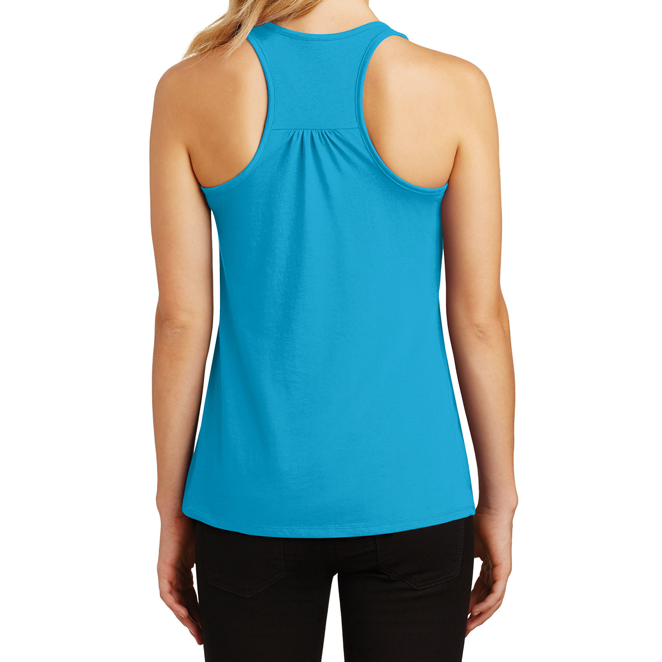 Womens Solid Gathered Racerback Tank - Light Turquoise - Back