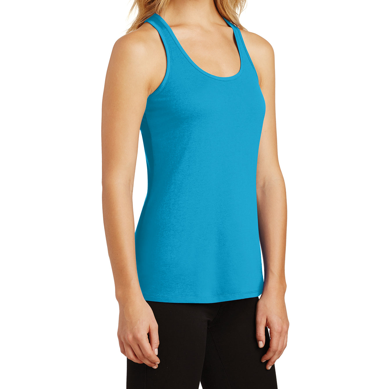 Womens Solid Gathered RacerSide Tank - Light Turquoise - Side