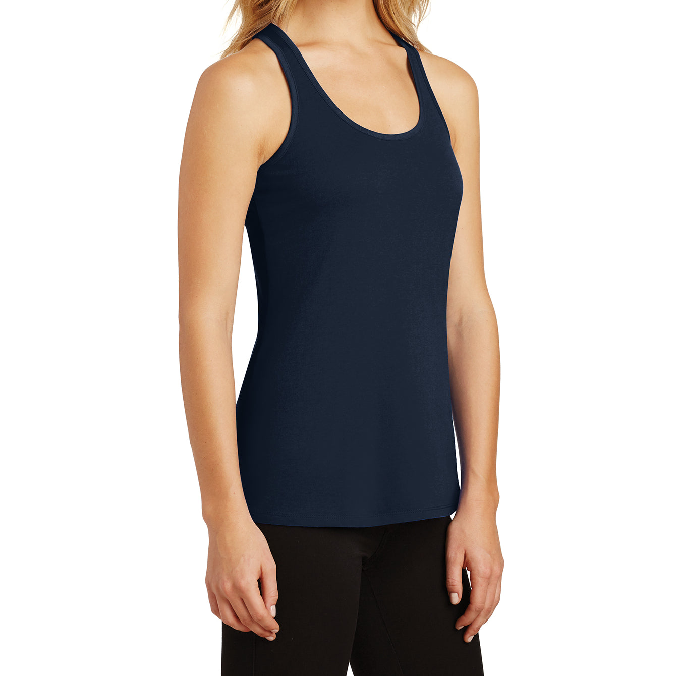 Womens Solid Gathered RacerSide Tank - New Navy - Side