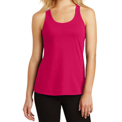Womens Solid Gathered Racerback Tank - Watermelon - Front