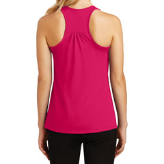 Womens Solid Gathered Racerback Tank - Watermelon - Back