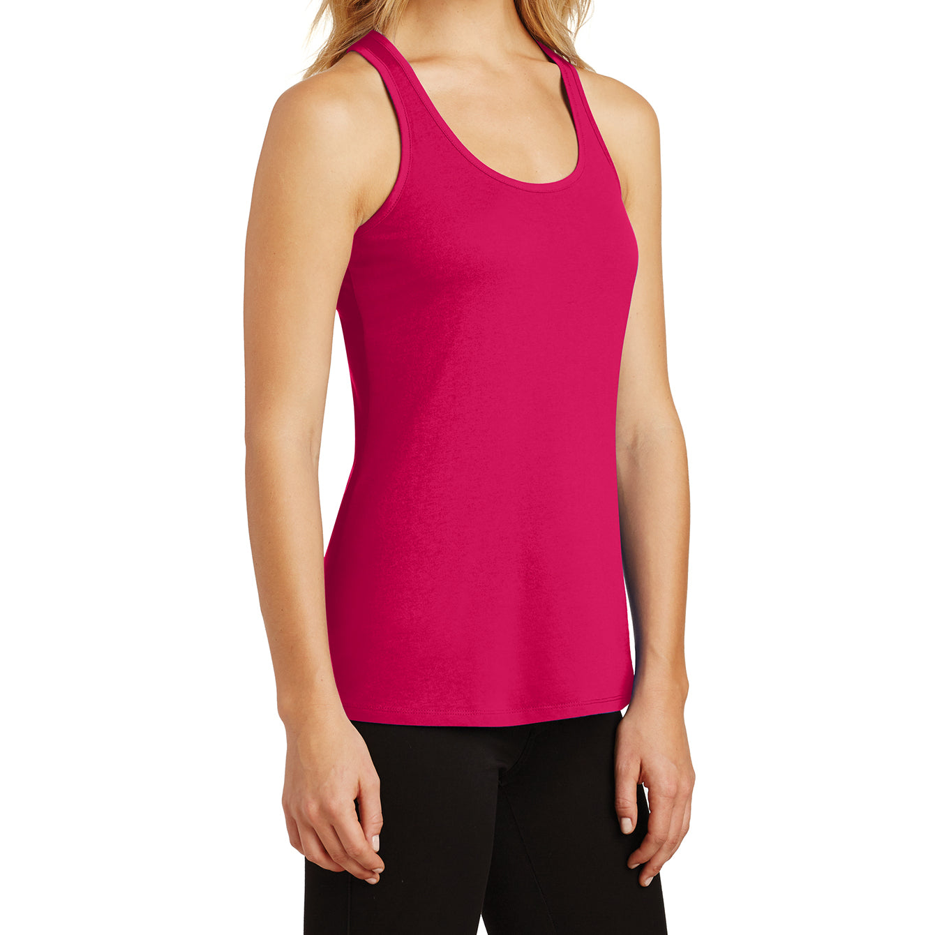 Womens Solid Gathered RacerSide Tank - Watermelon - Side