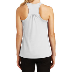 Womens Solid Gathered Racerback Tank - White - Back
