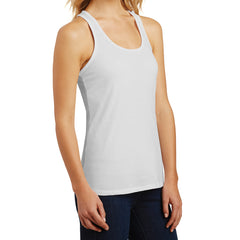 Womens Solid Gathered RacerSide Tank - White - Side