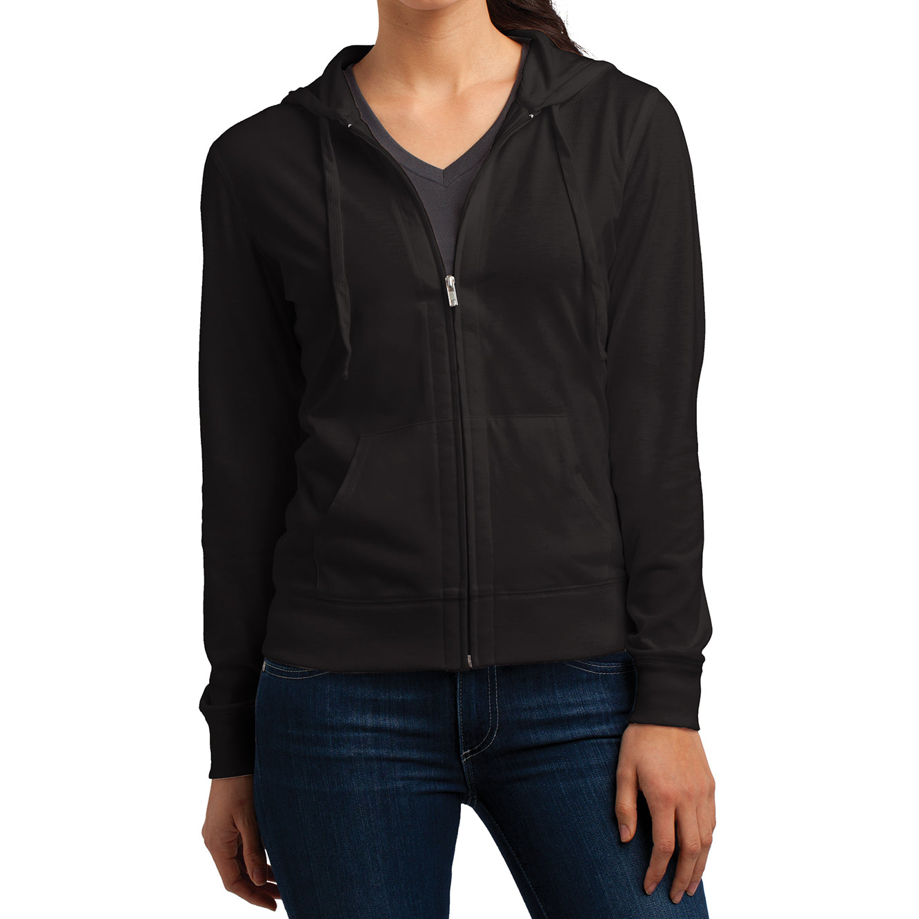 Women's Juniors Jersey Full-Zip Hoodie Black - Front