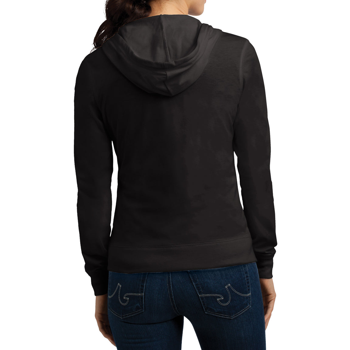 Women's Juniors Jersey Full-Zip Hoodie Black - Back