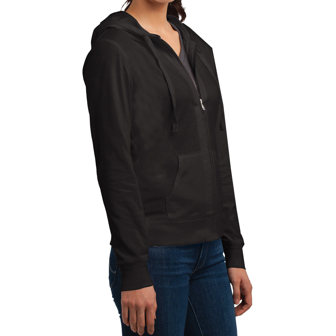 Women's Juniors Jersey Full-Zip Hoodie Black - Side