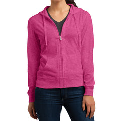 Women's Juniors Jersey Full-Zip Hoodie Dark Fuchsia Heather - Front