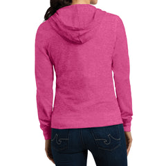 Women's Juniors Jersey Full-Zip Hoodie Dark Fuchsia Heather - Back