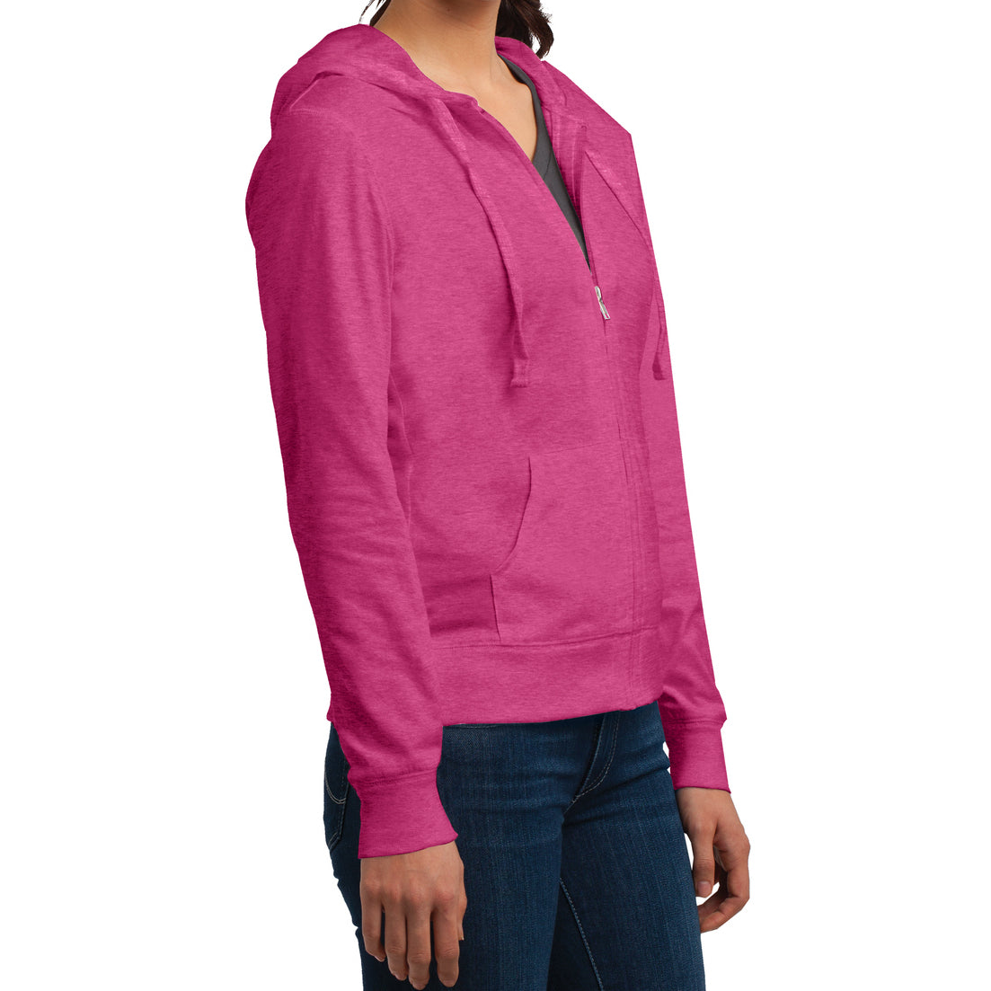 Women's Juniors Jersey Full-Zip Hoodie Dark Fuchsia Heather - Side