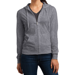 Women's Juniors Jersey Full-Zip Hoodie Dark Heather Grey - Front
