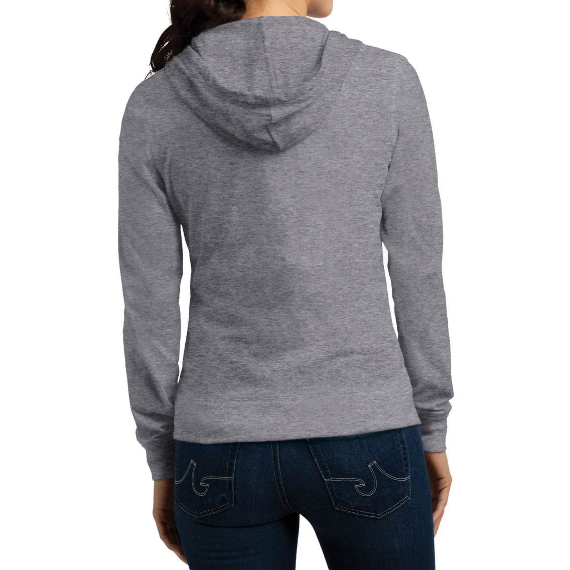 Women's Juniors Jersey Full-Zip Hoodie Dark Heather Grey - Back