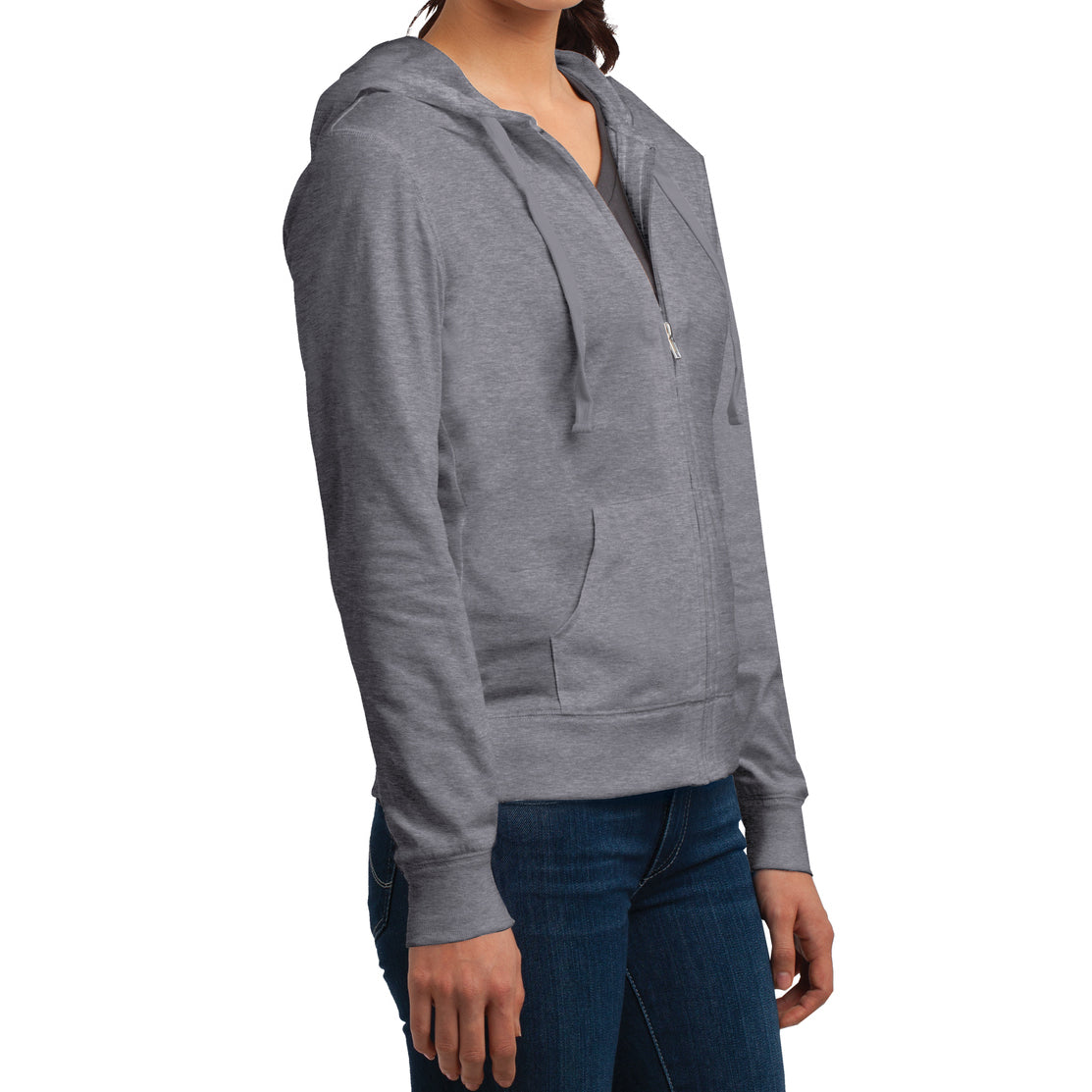 Women's Juniors Jersey Full-Zip Hoodie Dark Heather Grey - Side