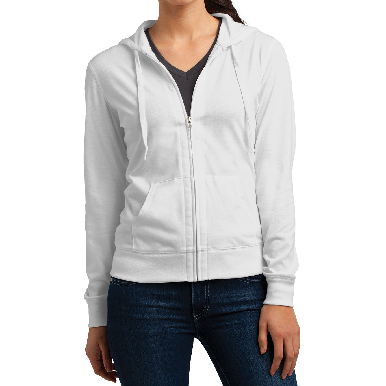 Women's Juniors Jersey Full-Zip Hoodie White - Front