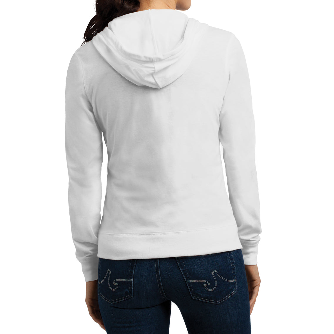 Women's Juniors Jersey Full-Zip Hoodie White - Back