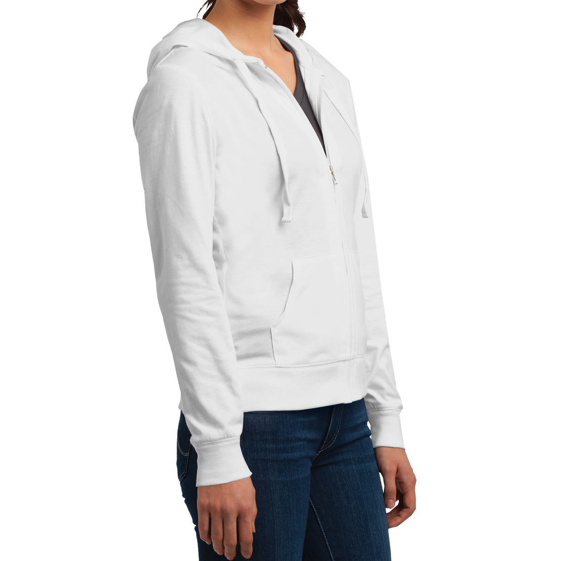 Women's Juniors Jersey Full-Zip Hoodie White - Side
