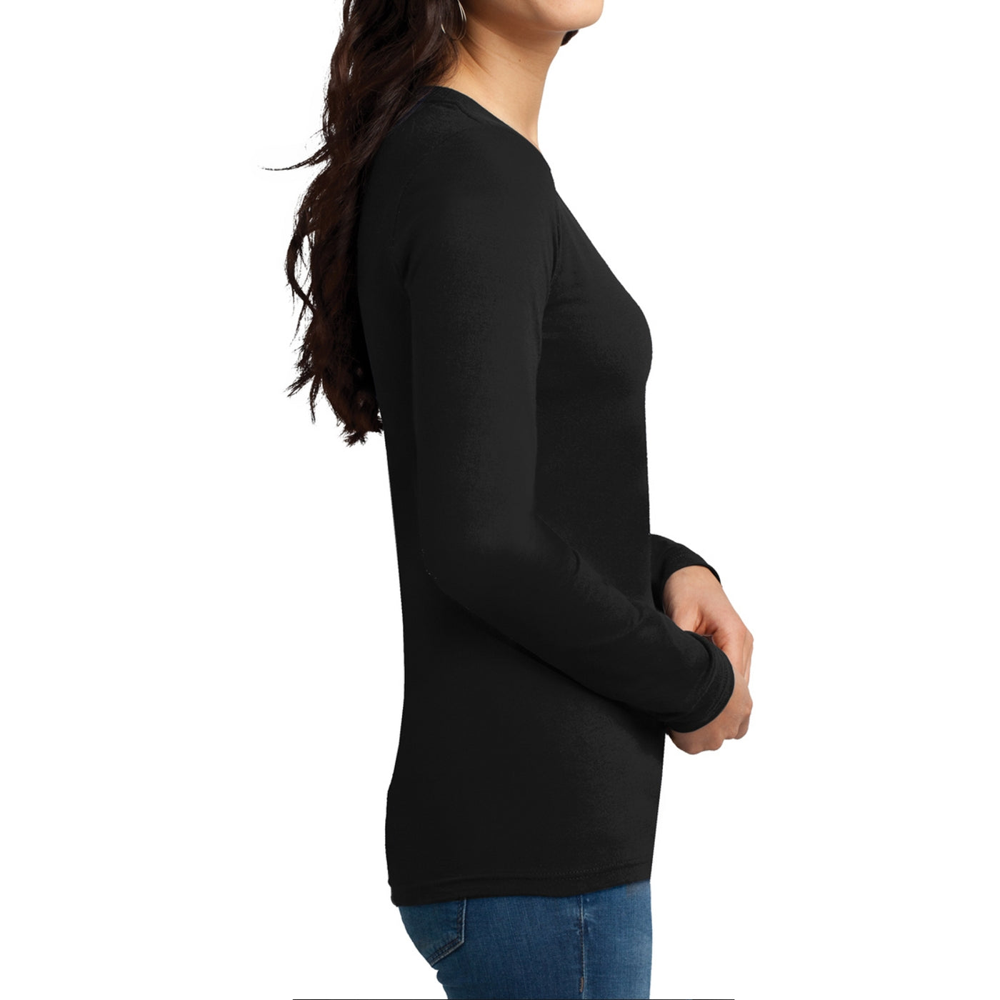 Women's Juniors The Concert Tee Long Sleeve V-Neck - Black
